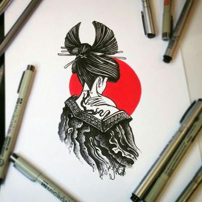 Тату эскиз - Гейша - версия вторая. Эскиз нарисован маркерами Copic и лайнерами Micron, Fordrawing и FaberCastell. Тату мастер Вадим. Студия художественной татуировки и пирсинга Evolution. www.evotattoo.ru. Тел./WhatsApp: 8(925)5143553. #tattoo #japan #dragon #red_and_black #tattoo_draw #drawing #painter #art #artist #geysha #geisha #samurai #тату #татуировки #черное_и_красное #тату_эскизы #тату_эскиз #гейша #рисунок #дизайны #иллюстрации #тату_эскизы_на_заказ #заказать_тату_эскиз #тату_мастер_вадим #художественный_салон @tat2atom