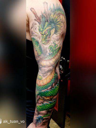 """"""" Shenron"""" in progress..🐲🐲🐲 Thanks Cody very much!!! #tattooshops #tattoo #tatttoos #colourtattoo #shenron #shenrontattoo tattoocustom #dragonballz #customdesign #customtattoo #eternalink #dragonballztattoo #AkTuanVo #inked #guywithtattoos #guywithinked #inkedguy #guyswithtattoos #yegdrawing #eternalinkdotca #edmontontattooartist #edmontonartist #yeg #yegtattoo #eternalink #eternalinkdotca"""