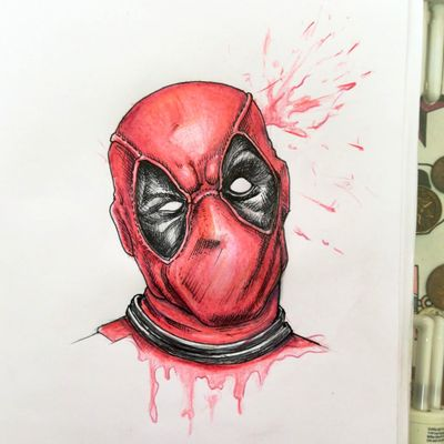 #deadpool #drawing by K Can't wait to tattoo this cheeky dude