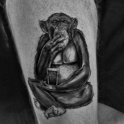 Monkey business #monkey #monkeytattoo #DonkeyKong #kingkong #coffee #cigarettes #love #tattoooftheday