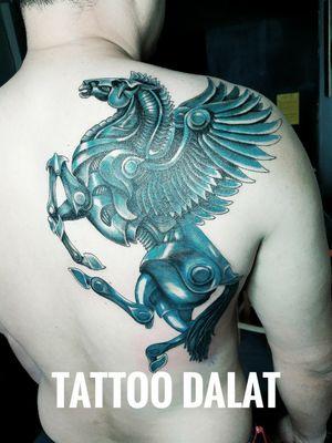 Metal pegasus tattoo #pegasustattoo #dalattattoo #tattoodalat #nguyentattoostudio