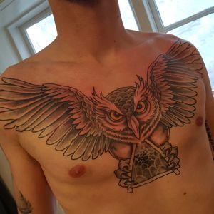 #chestpiece #owltattoos #owl #birdtattoo #tattoooftheday #wings