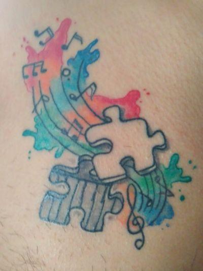 🎹 #piano #pianotattoo #music #musictatto #puzzlepiece