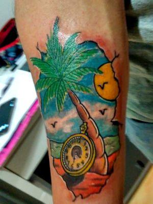 #palmtree #palmtreetattoo #clock #beachtattoo #colortattoo #colorful