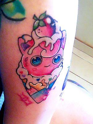 #tattoedgirl #tattooartist #jigglypuff #colortattoo #pokemontattoo #icecream #tattooart