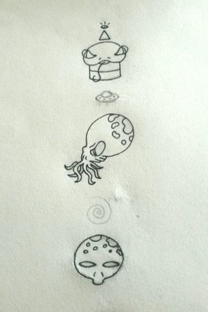 Sketchs Aliens Tattoo #tete #alientattoo #alien #apprenticetattoo #tattooapprentice #learning #apprentice #alternativegirl