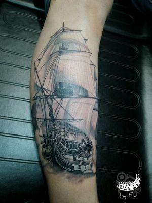 By Ela. #tattoobanana #tattoo #tattoos #realistic #realism #sailingship #tattooed #tattooer #tattooink #tattooart #tattooartist #tattooist #bodyart #inked #thurles #ink #tatuaze #tatuaje #worldfamousink #sabretattoosupplies #eztattooing #irelandtattoostudio #tattooshop