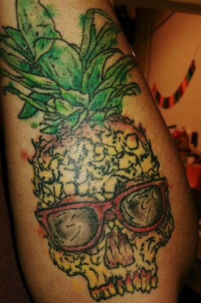Pineapple Skull. Wasilla, AK Cody @ Cynful Ink & Metal. #pineapple #pineappleskull #skulltattoos #cynfulink #watercolortattoo #Alaska #tattooidea