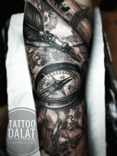 #tattoo #dalat #tattoodalat #nguyentattoostudio #nguyentattoo #dalattattoo #compass #pen #map