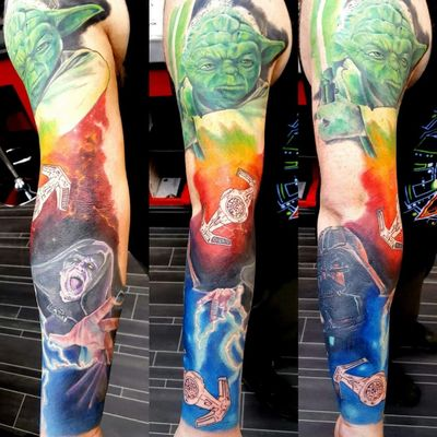 **IN PROGRESS** On going Star Wars colour sleeve. #starwarstattoo #starwars #starwarsfan #colourtattoo #colours #sleevetattoo #sleeves #yodatattoo #Yoda #palpatine #darthvadertattoo #darthvader #spacetattoo #spaceship