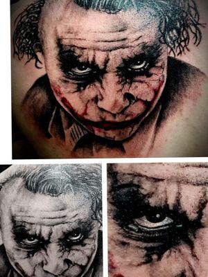 Joker I added to an ongoing backpiece #Joker #MarvelTattoos #batmanjoker #gotham