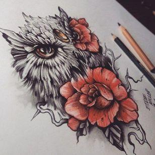 #roses #owltattoo #blackandcolor #redandblack #redink #redroses #birdtattoo