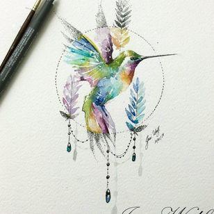 #hummingbirds #hummingbirdtattoo #hummingbird #dotworktattoo #watercolortattoos #birdtattoo