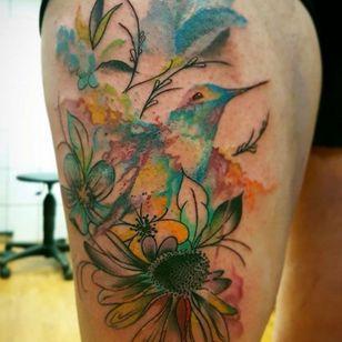 #hummingbirdtattoo #hummingbirds #hummingbird #watercolortattoos #floraltattoo #flowers #birdtattoo