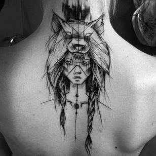 #nativeamericantattoo #wolftattoo #wolfhead #navajo #blackandgrey #womantattoo