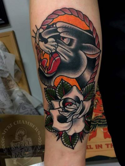 Myke Chambers did this one on my forearm last year. #Tattoooftheday #MykeChambers #Traditional #Philly #Panther #Rose