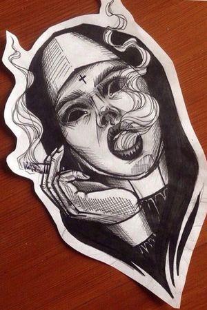 Smoking demonic nun