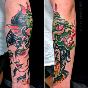 One hit girl head and demon.  Wrapping quite a lot on the forearm. #benogradygallery #benogradytattoo #benogrady #ogradytattoo #sydneytattooartist #sydneytattooartist #australiantattooartist #stonehearttattoo #stoneheartbodyart #lighthousetattoosydney #lighthousetattoostudio #LH