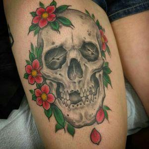 #skull #flowers #cherryblossomtattoo