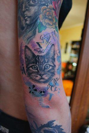 #mywork #tattoo #artist #tattooartist #art #Bishoprotary #eternalink #ilovetattoo #sonami #sonamiaoi #thankful #nice #cat #colourtatto