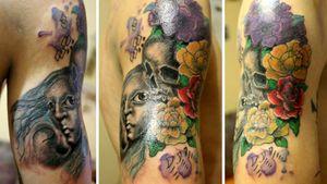 #mywork #tattoo #artist #tattooartist #art #Bishoprotary #eternalink #ilovetattoo #sonami #sonamiaoi #thankful #nice #girl #face #facetattoo #portrait #skull #skulltattoo #flowerstattoo #colourtatto