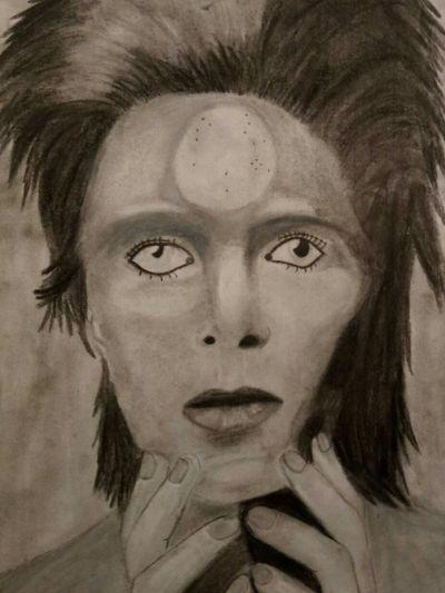 My first portrait of David Bowie #davidbowie #portait
