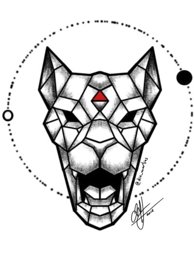 #Black #cat #wildcat #tiger #panther #lion #beast #fangs #geometric #lineart #redtriangle #dotwork