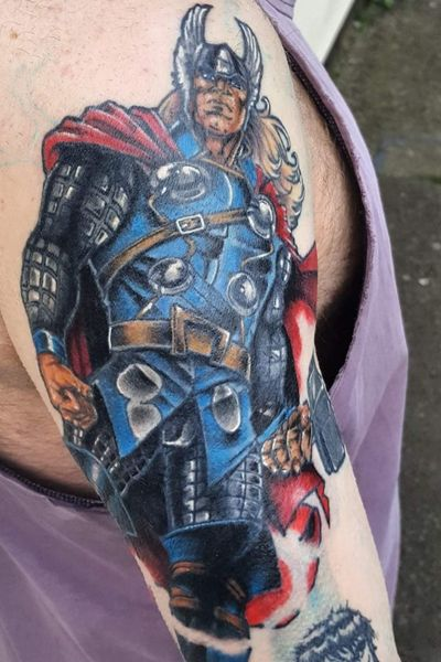 **IN PROGRESS** Marvel sleeve cover-up by Pete. So far, Thor & half way through the Hulk. Plenty more to go! Remember, quality, detailed tattoos that last, take time. Pure artwork.#MarvelTattoos #MarvelTattoo #thortattoo #thor #colourtattoo #sleevetattoo #coveruptattoo #CoverUpTattoos #cartoontattoo #inprogresstattoo #menwithink #inkedup #inked