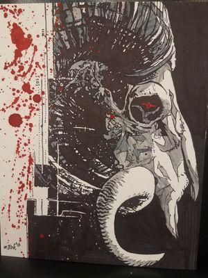 Sharpie and Ink #goat #trashpolka #skull #fortworth #dirk