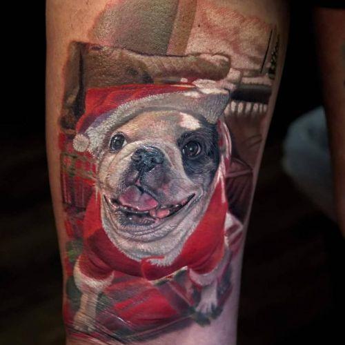Penny the Christmas Pug, #abttattoo #artbytodo #realismtattoo #tattoorealistic #tattooportrait #animalportrait #realism