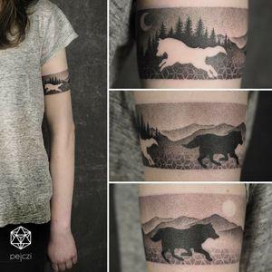 By #pejczi #wolf #nordic #mythology #geometric #armband #dotwork #landscape