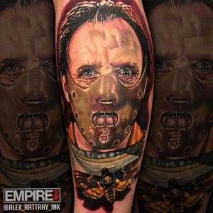 """""""A census taker once tried to test me. I ate his liver with some fava beans and a nice chianti"""" @alex_rattray_ink did this portrait of the infamous #Hannibal Lecter from #silenceofthelambs a couple of years ago. If you want a big colour realistic horror piece for this #Fridaythe13th , contact the studio."""