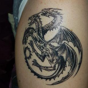 Targaryen crest first partof my game of thrones uppersleeves to chest piece. #anjwoodstattooartist #glasgowtattoo #got #targaryen #dragon #girlswithtattoos #adragonisnotaslave