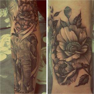 Elephant/poppy combination #poppytattoo #poppy #poppies #flowertattoo #flowers #flowerstattoo #sleevetattoo #sleeves #remember #rememberance #rememberancetattoo #blackandgrey #blackandgreytattoo #african #african #africangreytattoo
