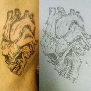 #skulltattoo #skull #anatomicalheart #hearttattoo #badass #ribtattoo #Sidepiece #sidetattoo