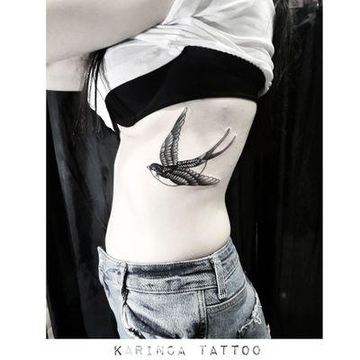 Sparrow Instagram: @karincatattoo #sparrow #rib #tattoo #tattoos #tattoodesign #tattooartist #tattooer #tattoostudio #tattoolove #tattooart #istanbul #turkey #dövme #dövmeci #design #girl #woman #tattedup #inked #body