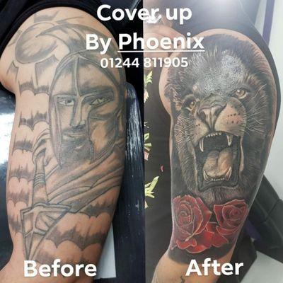 Cover up by Phoenix Blaze #tattoo #coverup #tattoocoverup #liontattoo #lion #wildlife #realism #bigcats #bigcat #herekitty #bng #blackwork #rose #rosetattoo #roar
