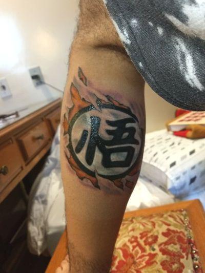 Goku kanji tattoo By Rony Hall #dragonballtattoo #dragonball #goku #colortattoo