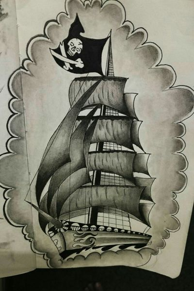 Old school/traditional ship design. Finished piece (p.s) #oldschool #traditional #design #drawing #ship #shading #b4 #b2