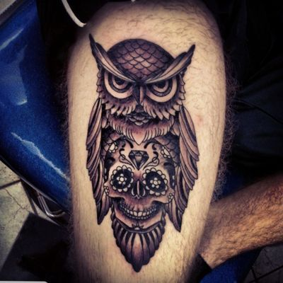 Done by Kelly Mcrae @Skin_Dimensions_Tattooing_and #owl #sugarskull #skull #diamond #blackandgrey #thigh