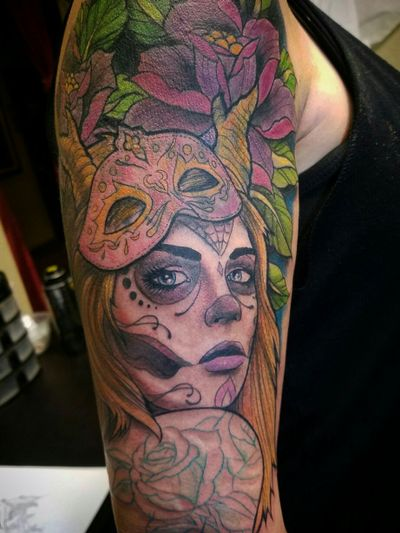 Day of the dead girl cover-up! - #tattoo #tattoos #ink #inked #dayofthedead #portrait #realism #realistic #sugarskull #delamuerta #sexytattoo #3dtattoo #realistictattooartist #realismtattooartist #dayofthedeadtattoo #sexyeyes #mardigrastattoo #mardigrassugarskull #sexygirl #beautifultattoo #amazingtattoo #coverup #coveruptattoo #mask #tattooshop #aztattoo #arizonatattoo #tattooartistaz #aztattooer