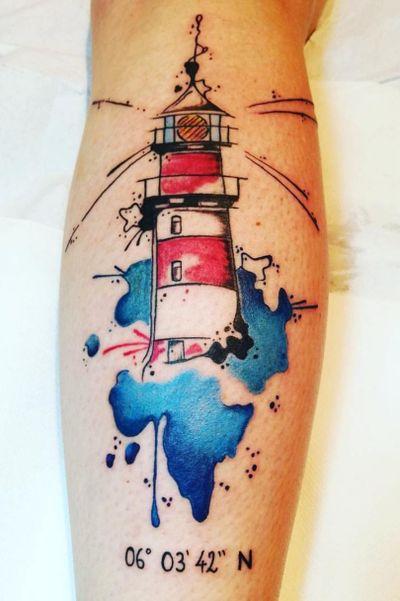 #lighthousetattoo #lighthouse #watercolortattoo #date