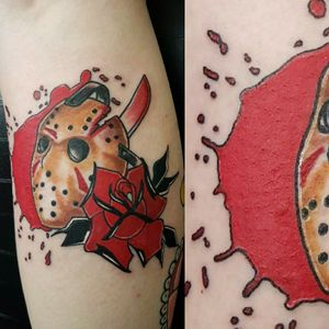 Jason Voorhees mask calf piece thx for looking #TraditionalArtist #traditionaltattoo #traditional #boldwillhold #horrortattoo #color #colortattoo