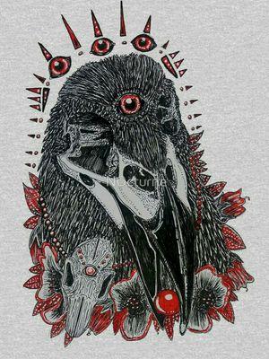 'ORACLE' by Lowri Williams-Jarvis (N0cturne) #Ravens #raventattoo #raven #birdtattoo #bird #gothictattoo #skulltattoo #skulls #lineworktattoo #eyes #animal #Gothic #detailed