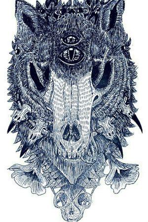 """NOXIOUS"" by Lowri Williams-Jarvis (N0cturne) #foxtattoos #foxtattoo #foxtattoodesign #skulltattoo #surrealism #skulls #horrortattoo #morbidart #animal #animals #animalskulldesign #detailedtattoo"