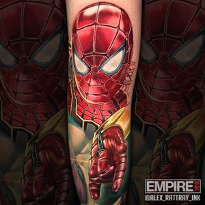 I did this portrait of #IronSpider on the back of knee over 2 days this week. So excited for #InfinityWar tonight.  #marvel  #MarvelTattoo #mcu #AvengersTattoo