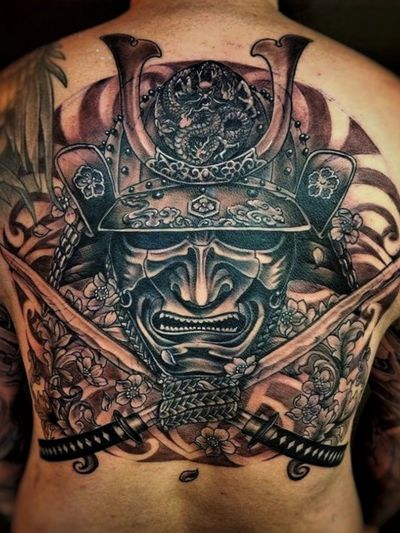 2016 Samurai mask, swords, mandala Done by @charttat2 from Golden Needle Tattoo, Phuket #japanese #samurai #sword #mandala