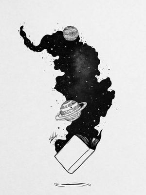 #book #universe #blackandwhitetattoo #readinglover