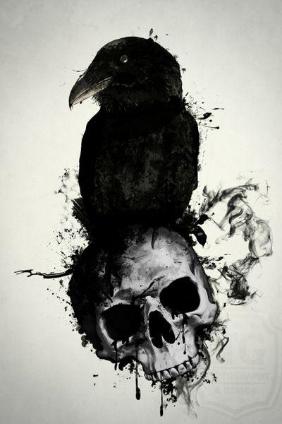 #skulltattoo #skull #raven