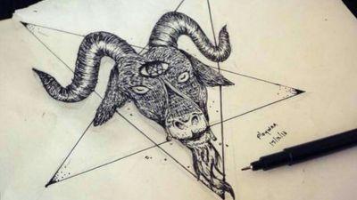 Baphomet ? 🐐🌚 #blackwork #Goth #ink #animaltattoo #goattattoo #goat #satanicgoat #satan